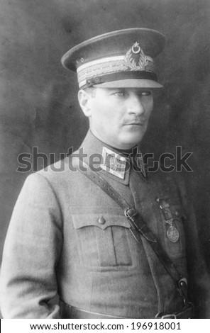 ISTANBUL-Turkey,Circa 1920's :Mustafa Kemal Ataturk founder Turkish Republic .Circa 1920's  - stock photo