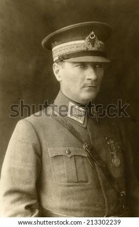 ISTANBUL-Turkey,Circa 1920's :Mustafa Kemal Ataturk founder Turkish Republic .Circa 1930's  - stock photo