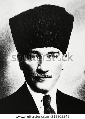 ISTANBUL-Turkey,Circa 1920's :Mustafa Kemal Ataturk founder Turkish Republic .Circa 1930's  - stock photo
