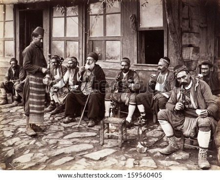 ISTANBUL-Turkey,Circa 1900's : Old photo.Street cafe in istanbul  - stock photo