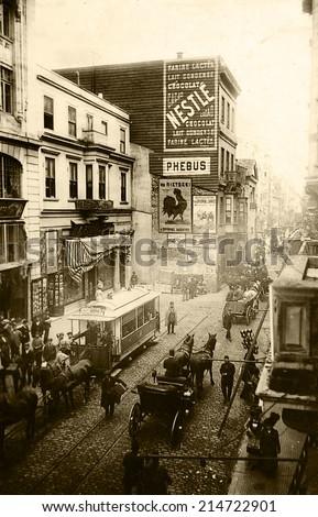 ISTANBUL, TURKEY - CIRCA 1900's :Vintage cityscape of Istanbul.Old Beyoglu District.Turkey, circa 1900s.  - stock photo