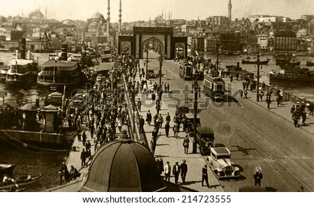 ISTANBUL, TURKEY - CIRCA 1900's :Vintage cityscape of Istanbul,old Galata bridge Turkey, circa 1900s.  - stock photo