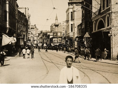 ISTANBUL, TURKEY - CIRCA 1900's :Vintage cityscape of Istanbul,old istiklal street. Turkey, circa 1900s.  - stock photo