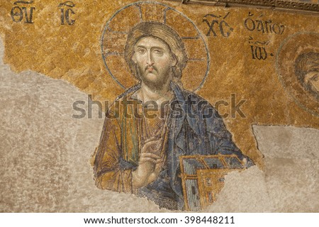 ISTANBUL,TURKEY - DEC 29 : Jesus Christ Pantocrator in the Deesis of Hagia Sophia, a Byzantine mosaic dated about 1280, on December 29,2015, in Istanbul, Turkey.