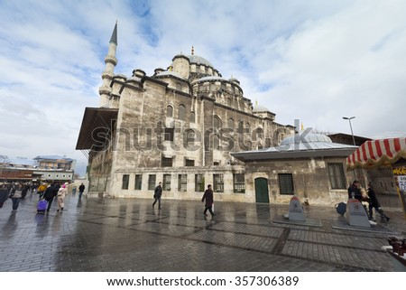 ISTANBUL, TURKEY - DEC 30 : The New Mosque (Yeni Cami) on December 30,2015. The New Mosque is an Ottoman imperial mosque completed in 1665, located on the Golden Horn in Istanbul, Turkey.