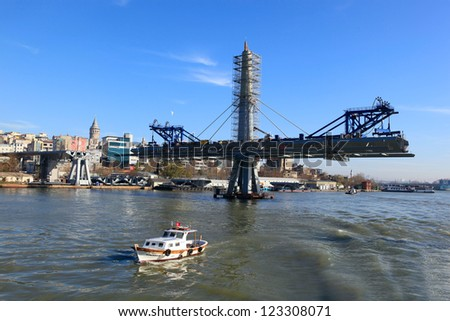 ISTANBUL,TURKEY,DEC 26:The ongoing construction of the Golden Horn Metro Bridge has been criticized for breaking the city's skyline on December 26,2012 in Istanbul,Turkey