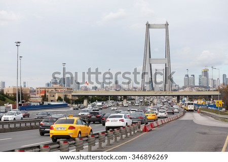 ISTANBUL TURKEY - DECEMBER 3, 2015 : Bosphorus bridge - stock photo