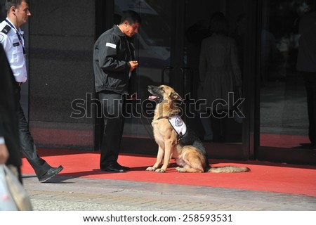 ISTANBUL, TURKEY - DECEMBER 13:  Exhibition devoted to costume jewellery,  security dog at the fair entrance with security guard  on December 13, 2011 in Istanbul, Turkey.