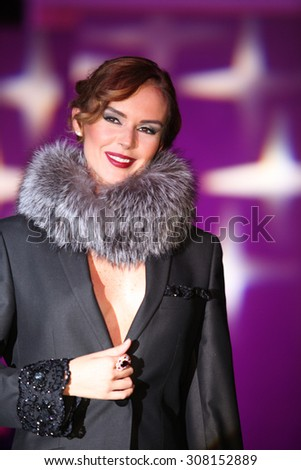 ISTANBUL, TURKEY - DECEMBER 18: Famous Turkish actress, show hostess, model and television series star ?pek Tanriyar portrait on December 18, 2014 in Istanbul, Turkey. - stock photo