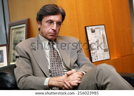ISTANBUL, TURKEY - DECEMBER 28: Famous Turkish banker and Is Bank Chairman of the Board Ersin Ozince portrait on December 28, 2008 in Istanbul, Turkey. - stock photo