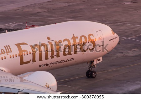 Istanbul, Turkey, 25.07.2015: Emirates airlines boeing 777 detail, ready for taxi - stock photo