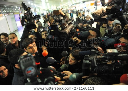ISTANBUL, TURKEY - FEB 7, 2014 - Passengers of the hijacked plane arrived to Sabiha Gokcen Airport  Passengers giving information to the press members  on February  7,  2014 in Istanbul, Turkey.