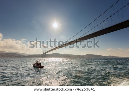 ISTANBUL, TURKEY - FEB 1, 2013: The 15 July Martyrs Bridge (or unofficially the Bosphorus Bridge). This is one of the three suspension bridges spanning the Bosphorus strait in Istanbul, Turkey,