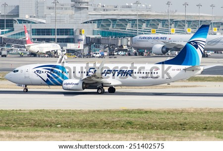 ISTANBUL , TURKEY - FEBRUARY 9, 2015: Aircraft of Egyptian Airlines, is making taxi at Istanbul Ataturk International Airport on February 9, 2015 . Aircraft is an Boing 737-800 - stock photo