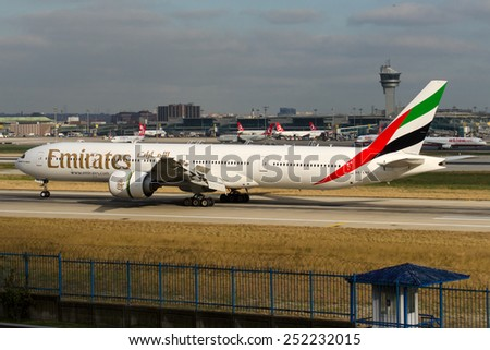 ISTANBUL , TURKEY - FEBRUARY 12, 2015: Aircraft of Libyan Airlines at sky on February 12, 2015  - stock photo