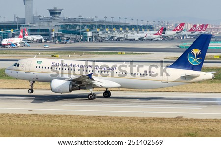 ISTANBUL , TURKEY - FEBRUARY 9, 2015: Aircraft of Saudi Arabian Airlines, is taking off from  Istanbul Ataturk International Airport on February 9, 2015 . Aircraft is an Airbus A320  - stock photo