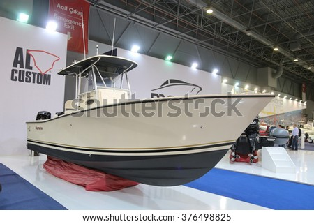 ISTANBUL, TURKEY - FEBRUARY 13, 2016: AL Custom Raymarine fishing boat on display at 9th CNR Eurasia Boat Show in CNR Expo Center