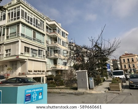 ISTANBUL,TURKEY-FEBRUARY 28,2017:Arnavutkoy District in Istanbul city.Arnavutkoy  is a historic neighbourhood in Istanbul, Turkey, famous for its wooden Ottoman mansions and seafood restaurants.