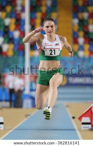 ISTANBUL, TURKEY - FEBRUARY 27, 2016: Athlete Gabriela Petrova triple jumping in Balkan Athletics Indoor Championships