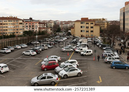 ISTANBUL, TURKEY - FEBRUARY 25, 2015: Bahcelievler District in instanbul.The image of a vehicles parked in parking lot  - stock photo
