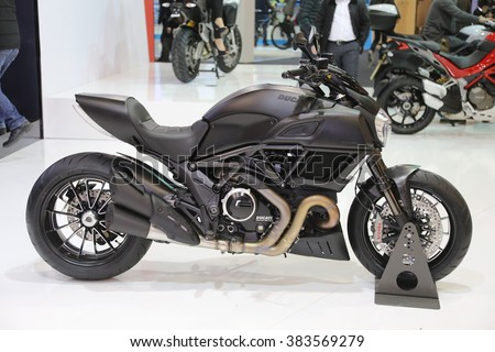 ISTANBUL, TURKEY - FEBRUARY 25, 2016: Ducati Diavel on display at Moto Bike Expo in Istanbul Exhibition Center