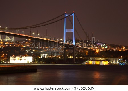 ISTANBUL, TURKEY - february 2016: Evening view of the Bosphorus Bridge. The coast of the Bosphorus. Fatih Sultan Mehmet Bridge - Stock Image