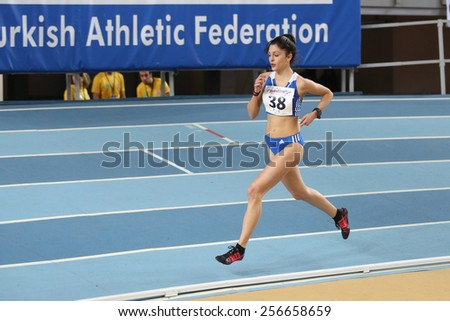 ISTANBUL, TURKEY - FEBRUARY 21, 2015: Greek athlete Anastasia Karakatsani running during Balkan Athletics Indoor Championships in Asli Cakir Alptekin Athletics hall. - stock photo
