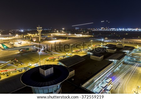 Istanbul, Turkey; February 02, 2015: Istanbul Ataturk Airport Long Exposure Image During The Night Time with Turkmenistan Airlines
