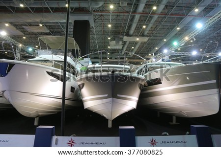 ISTANBUL, TURKEY - FEBRUARY 13, 2016: Jeanneau yachts on display at 9th CNR Eurasia Boat Show in CNR Expo Center