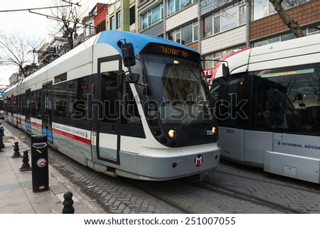 ISTANBUL, TURKEY - FEBRUARY 03, 2015:Modern tram on Sultanahmet District.Istanbul is a modern city with a developed infrastructure.