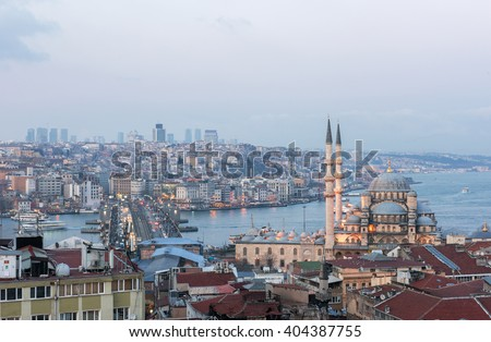 ISTANBUL, TURKEY - FEBRUARY 22, 2016: Panoramic view of Istanbul. Galata Bridge, Mosque and Bosphorus. Istanbul, Turkey.
