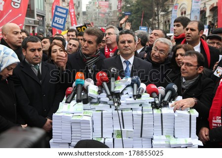 ISTANBUL, TURKEY-FEBRUARY 26, 2014: Rebuplican People's Party organised a protest, which relate to allegations of corruption and bribery in Taksim Square - stock photo