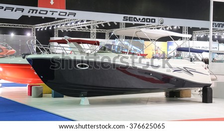ISTANBUL, TURKEY - FEBRUARY 13, 2016: Safter 680 boat on display at 9th CNR Eurasia Boat Show in CNR Expo Center
