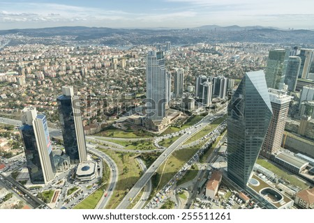 ISTANBUL,TURKEY, FEBRUARY 24, 2015: Skyscrapers,residences and dense traffic can be seen in Levent District of Istanbul, one of the most populated financial zones in Istanbul. - stock photo