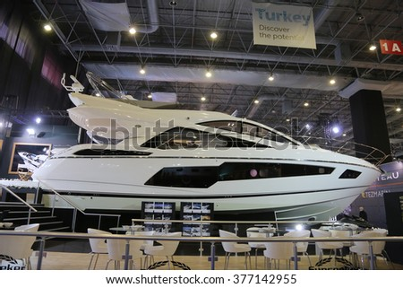 ISTANBUL, TURKEY - FEBRUARY 13, 2016: Sunseeker Yacht on display at 9th CNR Eurasia Boat Show in CNR Expo Center