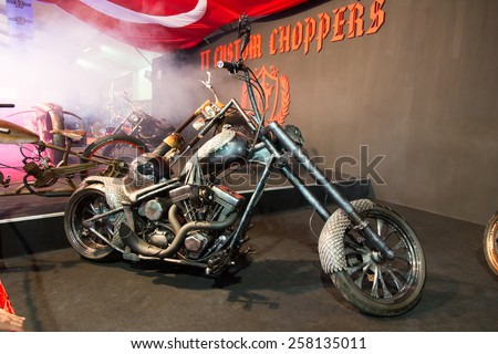 ISTANBUL, TURKEY - FEBRUARY 28, 2015: TT Custom Choppers motorcycle in Eurasia Moto Bike Expo in Istanbul Expo Center