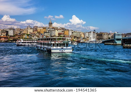 ISTANBUL, TURKEY: Galata tower, seafront of Istanbul in summer season.