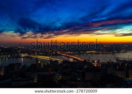 Istanbul, Turkey. Istanbul aerial view at sunset from Galata Tower - stock photo