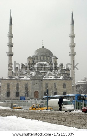 ISTANBUL, TURKEY - JANUARY 23: A snowy day in Eminonu District on January 23, 2007 in Istanbul, Turkey. - stock photo