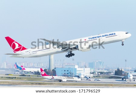 ISTANBUL , TURKEY - JANUARY 15, 2014: Aircraft of Turkish Airlines, is taking off from Istanbul Ataturk International Airport on June 15, 2014. The aircraft is an Boing 777 - stock photo