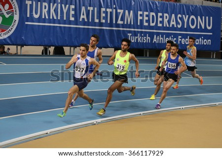 ISTANBUL, TURKEY - JANUARY 10, 2016: Athletes running during Turkish Athletic Federation Olympic Threshold Indoor Competitions