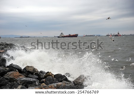 ISTANBUL, TURKEY -JANUARY 20:  Cargo ship sank due to severe storms in the Bosphorus in Istanbul,  on January  20, 2012 Istanbul,Turkey