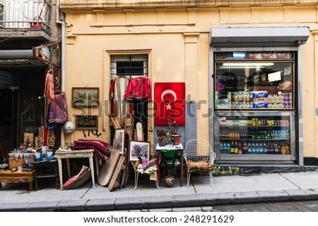 ISTANBUL, TURKEY - JANUARY 20: Cukurcuma in istanbul.Cukurcuma of Beyoglu quarter is the city's oldest antiques district on JANUARY 20, 2015 in Istanbul, Turkey - stock photo