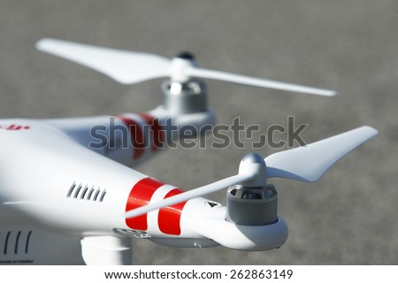 ISTANBUL, TURKEY - JANUARY 29,2015: DJI Phantom 2 quadcopter drone with propeller - stock photo