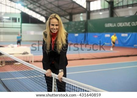 ISTANBUL, TURKEY - JANUARY 31: Famous Turkish tennis player Ipek Senoglu portrait on January 31, 2013 in Istanbul, Turkey. - stock photo