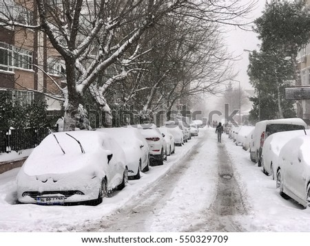 ISTANBUL,TURKEY-JANUARY 07,2017:Heavy snow days in istanbul,Bahcelievler district in istanbul