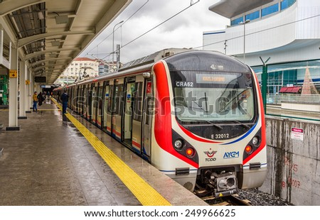ISTANBUL, TURKEY - JANUARY 6: Hyundai Rotem train at Airilikcesmesi Station on January 6, 2015 in Istanbul, Turkey. The Marmaray project comprises an undersea rail tunnel under the Bosphorus strait. - stock photo