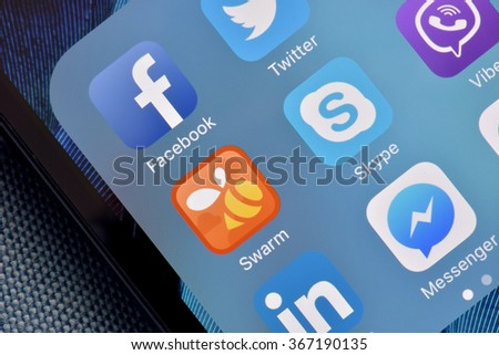 ISTANBUL, TURKEY - JANUARY 24, 2016: Social media are trending and both business as consumer are using it for information sharing and networking. - stock photo