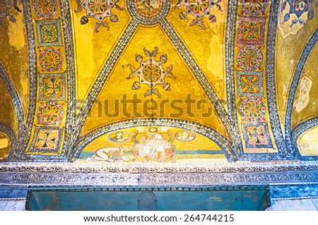 ISTANBUL, TURKEY - JANUARY 13, 2015: The mosaic decoration of the ceiling at the imperial gate of Hagia Sophia, on January 13 in Istanbul. - stock photo