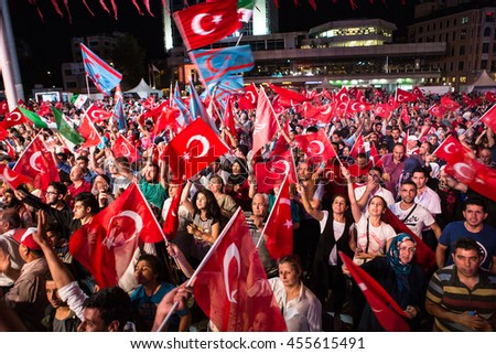 ISTANBUL, TURKEY - JULY 20:A military coup attempt plunged Turkey into a long night of violence and intrigue on July 20, 2016 in Istanbul, Turkey. - stock photo